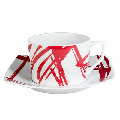 Tasse - Sous/tasse The 22 Cl Porcelaine Decor Expression  Rouge ( Lot De 6 )