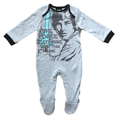 Baby Star Wars Sleepsuit Luke Skywalker Force Is Strong Romper Grey 0-12M New