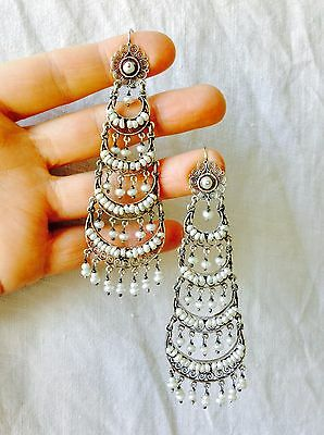 Vintage Oaxacan Filigree Earrings with Pearl .925 Silver. Mexico. Frida Kahlo