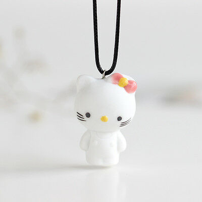 [KT cat Necklace]cartoon cute Fashion Necklace Handmade Ceramic Painting jewelry