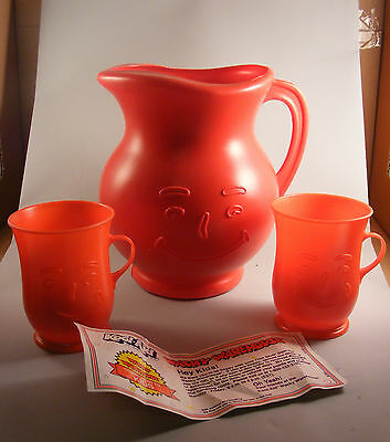 Vintage Kool Aid  Pitcher And 2 Cups - Red MINT UNUSED CONDITON WITH COUPON