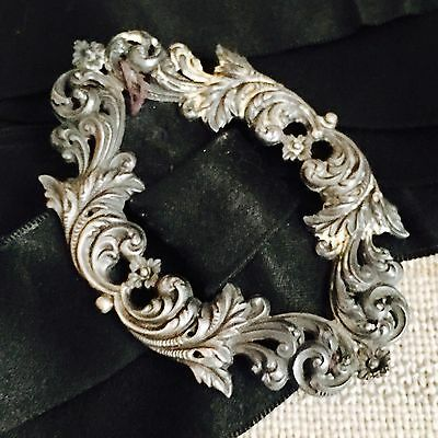 Antique Victorian Solid Sterling Silver Belt Buckle With Repousse Decoration