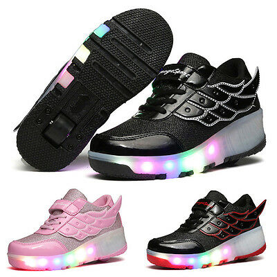 Student LED RGB Lace Up Luminous Girl Boy Light Wings Roller Skate Kids Shoes US