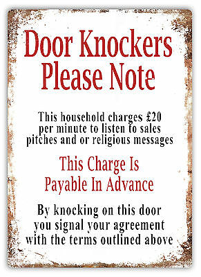 Door Knockers Please Note Metal Wall Sign Plaque Art Cold Caller Salesman Notice