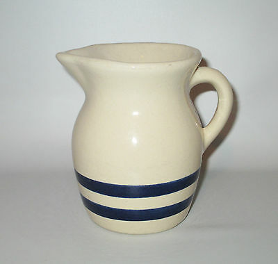 Robinson Ransbottom Pitcher Double Blue Stripe 14 oz R.R.P Roseville Stoneware