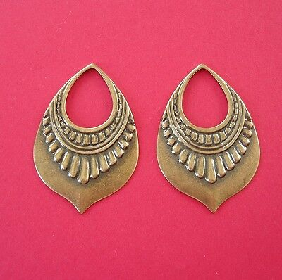 4-Antiqued Brass Stamping Open Loop Pendant Earring Jewelry Findings.