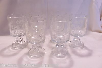 "Antique Stemware Cordial Wine Glasses 5"" Set of 6 Etched Floral"