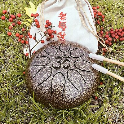 """WuYou  6.5"""" 16cm Steel Tongue Drum Handpan """"Om"""" Charkra Meditation Sound Therapy"""