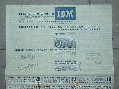 RARE  IBM share  Obligation 5% 1960 of 200 New Francs   RARE   I.B.M Cie  Bond