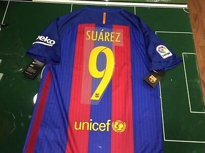 Maglia Calcio Shirt Football Barcelona 2016/2017 Nike Home Full Sponsor Suarez 9