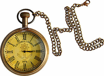 Vintage Antique Brass Clock Victorian Pocket Watch Collectible & Nautical Gift