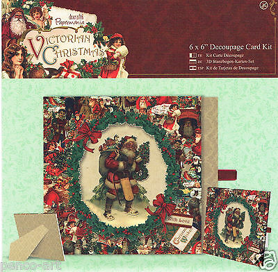 "Docrafts Papermania 6 x 6"" 3D die cut decoupage card kit Victorian Christmas"