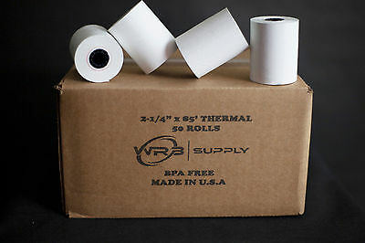 "Single-Ply Thermal Cash Register Rolls, 2-1/4"""" x 80 feet, White, 50/Carton"