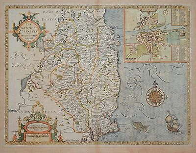 The Countie Of Leinster With The Citie Of Dublin Described By John Speed.1612.