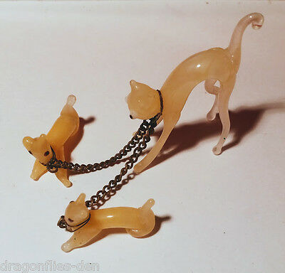 Retro Hand Blown Yellow Glass Cat and 2 Kittens with Chain Leash