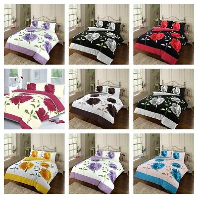 Rosaleen Floral Duvet Quilt Cover Bedding Set With Pillow Case in All Size
