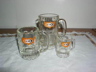 Lot of 3 Vintage A&W United States Logo Glass Mug