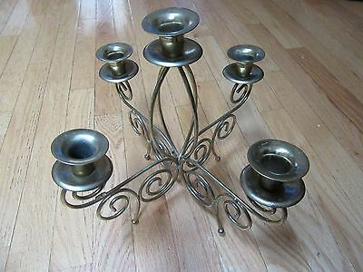 Home Interior Table top Candelabra scrolled brass wire 5 arm candle holders