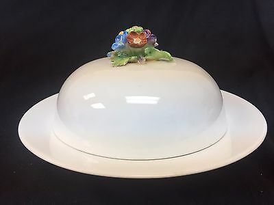 Old Crown Staffordshire Covered Butter Cheese Round Flower Handle Finial