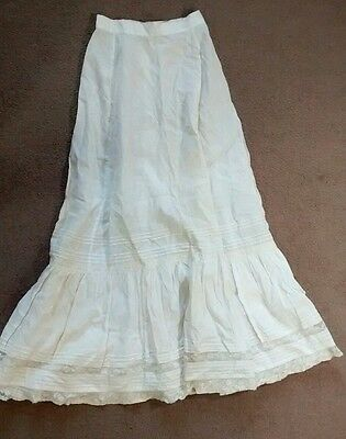 Antique Edwardian Victorian Petticoat Skirt With Lace Underwear Undergarment