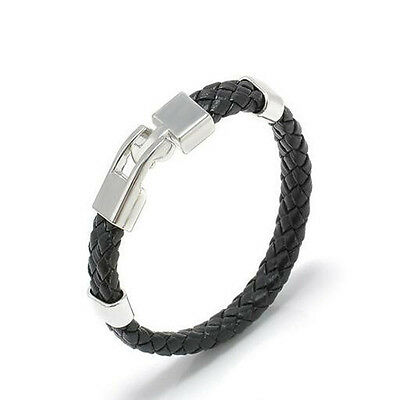 Stainless Steel Unique Black Men Magnetic Clasp Leather Bracelet Bangles