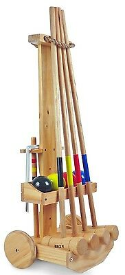 Croquet Family Set with Wooden Trolley 4 Mallets 4 Balls 2 Targets 10 Hoops