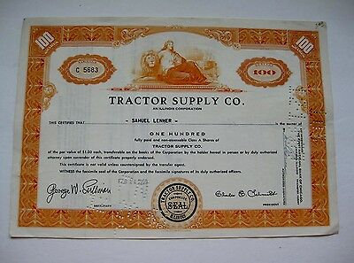 Tractor Supply Company Stock Certificate 1959