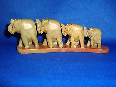 Hand Carved Elephant Family of Four From India