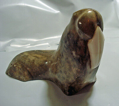 Vintage Hand Carved Walrus Stone Figurine Unique