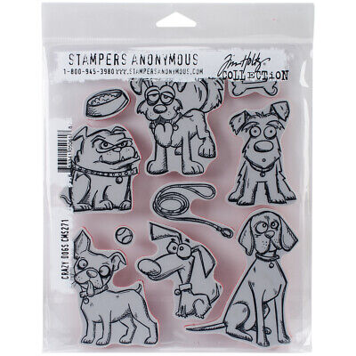 """Stampers Anonymous CMS-271 Tim Holtz Cling Stamps 7""""X8.5""""-Crazy Dogs"""