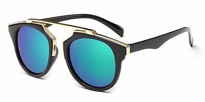 Womens Vintage Retro Round Noselss Bridge Style Sunglasses