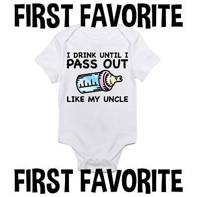 Uncle Pass Out Baby Onesie Bodysuit Shirt Shower Gift Funny Cute Infant Gerber