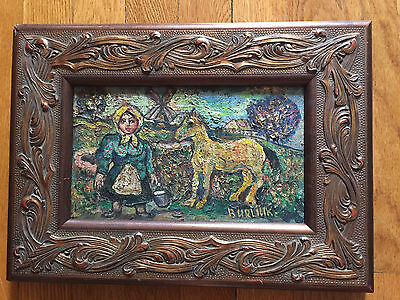 Original Vintage Painting 'A Woman and a Horse' by David Burliuk (1950s, SIGNED)