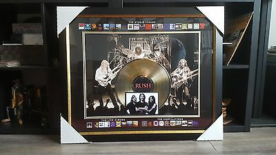 """Rush Official Art Picture framed Collage With 12"""" Gold Vinyl Record Collectible"""