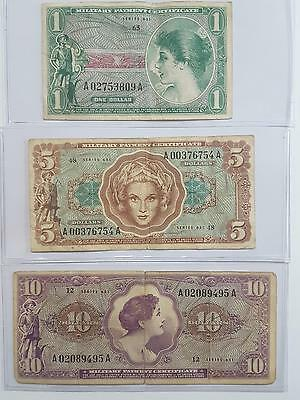 Series 651 MPC Military Payment Certificate Dollar 5 Dollar and 10 Dollar Set #1
