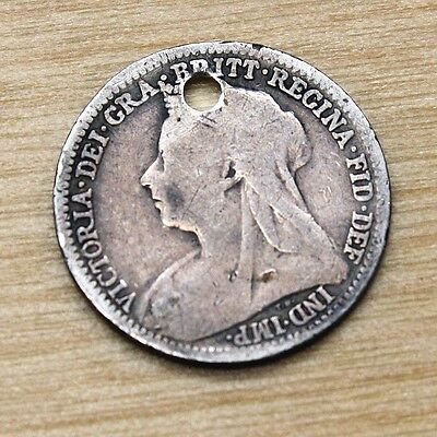 1900 Great Britain 3 Pence Silver Holed