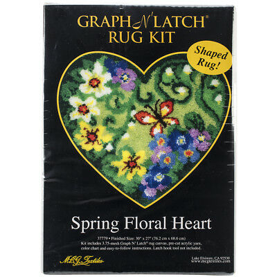"M C G Textiles 37779 Shaped Latch Hook Kit 30""X27""-Spring Floral Heart"