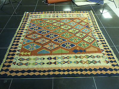 Large Square 7ftx7ft Kilim Rug Vintage Antique Tribal Geometric Bordered Qualty