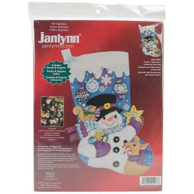 "Janlynn Frosty's Favorite Ornament Stocking Felt Applique Kit-18"" Long"