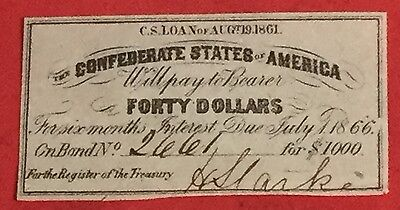 1861 $40 US Confederate States of America! Choice VF! Genuine! Old US !
