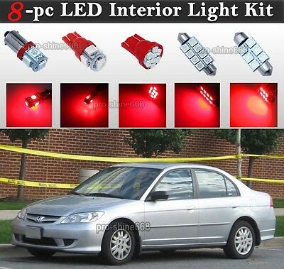 TOOL 8 x Ultra Blue Interior LED Lights Package For 2001-2005 Honda Civic