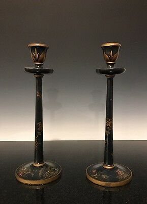 A Pair Of Antique French Japanned Lacquered Chinoiserie Candlesticks