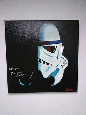 KEVIN SMITH Star Wars Force Awakens Stormtrooper SIGNED 18x18 Canvas Painting
