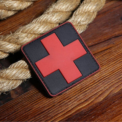 Red Cross Patch DIY Rubber Army Military Tactical  Combat PVC Badge 3D Morale