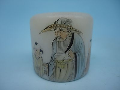 China Ancient Glass Hand - carved Painting Old man and Lad Thumb Rings