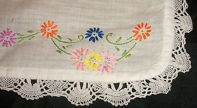 Vintage Cotton Hand Embroidered Daisies Tray Cloth Doily