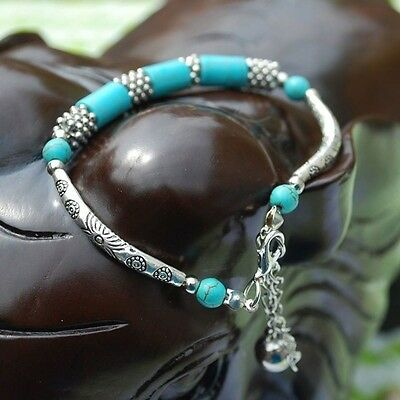 Chain Gift Foot Cylinder Brand New Gemstone Ankle Fake Turquoise Bracelet