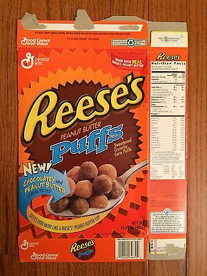 """1997 Vintage (General Mills) """"REESE'S PEANUT BUTTER PUFFS"""" Cereal Box, RARE!"""