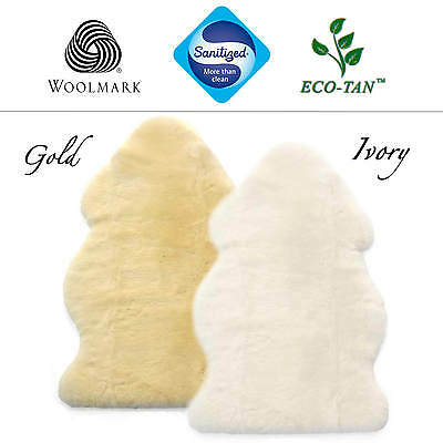 New 85/110cm Baby Lambskin Sheepskin Rug (Gold/Ivory) Australian Eco-Tan MEDICAL