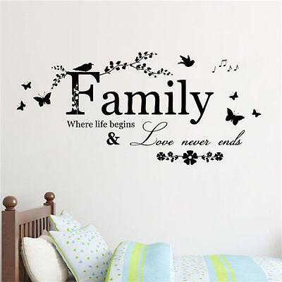 family Wonderful bedroom Quote Wall Stickers Art Room Removable Decals DIY 2017